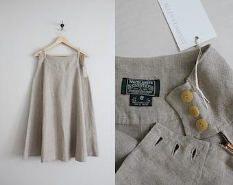 full linen skirt | vintage linen skirt | high waist skirt