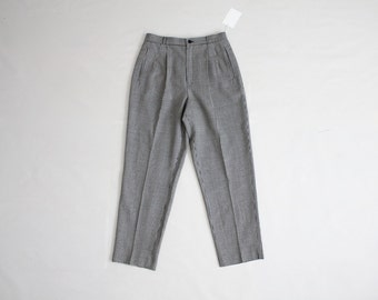 high waist wool pants | cropped wool trousers | pleated wool pants
