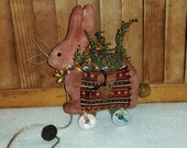 Primitive HANDMADE Brown Bunny Rabbit PULL TOY Decoration
