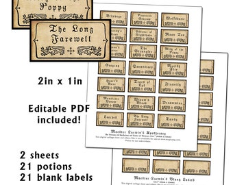 """Game of Thrones Maester Apothecary Potion and Poison Labels 2x1"""" full size"""