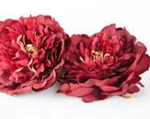 Medium Burgundy Peony - 4.5 Inches - Silk flower - Artificial Flower - ITEM 0883