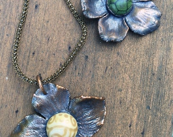 Florata: Necklace of lampwork glass and electroformed copper