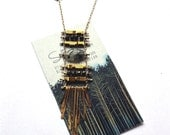 Golf Filled Fringe Necklace with Hematite - Pyrite - Rutilated Quartz