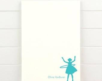 HULA HOOP Personalized Notepad - Children Girl Baby Custom Letterhead