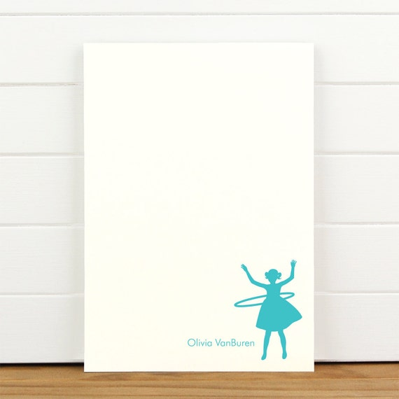 HULA HOOP Personalized Notepad - Children Girl Baby Custom Letterhead