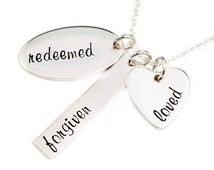 Redeemed, Forgiven, Loved Charm Necklace, Inspirational Jewelry, Handstamped Sterling Silver, Christian, Believer, Gift for Her