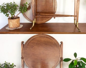 "Antique Occasional Table with Brass Claw Feet. Round Walnut Folding ""Conver-Table"" Game Table / Serving Table / Side Table."
