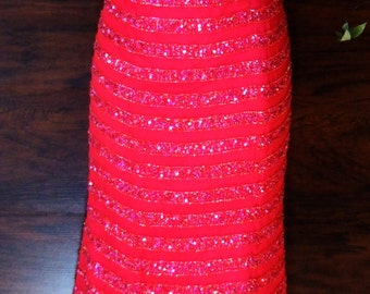 Red beaded dress silk  formal gown scarlet crimson mermaid party cocktail cabaret showgirl vintage small , from vintage opulence on Etsy