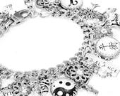 Inspirational Bracelet, A Balanced Life Charm Bracelet, Inspirational Jewelry, Balance Silver Bracelet, Ying Yang Jewelry