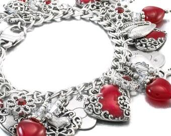 Silver Heart Bracelet, Heart Charm Bracelet, Valentines Day Jewelry, Red Heart Jewelry, Valentines Day Bracelet