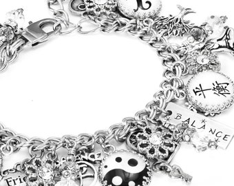 Balance Bracelet, Power Bracelet and Energy bracelet with Om, Scales, Yin and Yang symbols created in beautiful stainless steel
