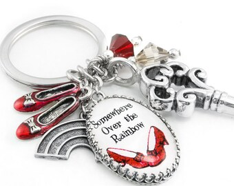Key Chain - Wizard of Oz - Ruby Slippers - Red Shoes - Over the Rainbow - Rainbow Keychain