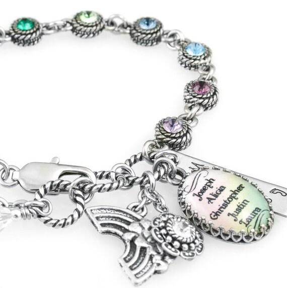 items similar to childrens names charm bracelet rainbow