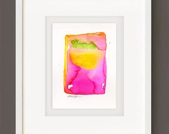 "Abstract Watercolor Painting, Spiritual Art, Minimalist Colorful, pink, yellow, orange, green ""Finding Serenity 6"" Kathy Morton Stanion EBSQ"