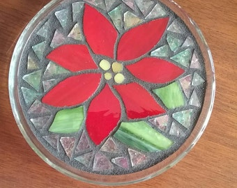 Poinsettia Flower Mosaic, Candle Holder, Wine Bottle Coaster, Red Poinsettia with Clear Iridized Granite Glass Background and Black Grout
