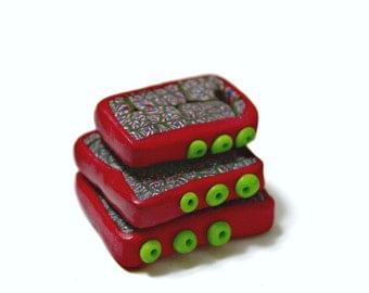 Handmade Polymer Clay Pendant in Hand Cut Square Shapes Red and Green