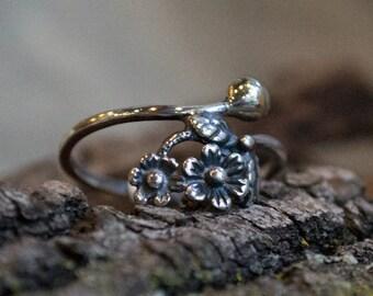 Silver wedding ring, flower ring, midi ring, branch ring, hippie ring, gypsy ring, boho ring, twig ring, nature ring - Two R2126
