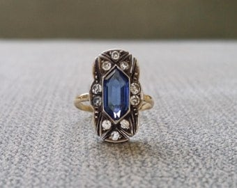 Antique Engagement Ring Two Toned Silver and Gold Cubic Zirconia and Blue Sapphire Edwardian Vintage Art Deco gold size 4