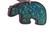 Handmade Copper Enamel Bear Necklace, Copper Enamel Polar Bear, Enamel on Copper Ice Bear Shaped Necklace, Transparent Teal With Fine Silver