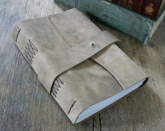 "Leather Journal / Sketchbook / Guestbook . Large 9""x6"" . Rustic . Handmade Handbound. distressed smokey brown (320pgs)"