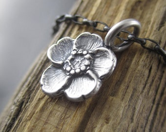 Handmade Small Spring Buttercup Sterling Silver Charm