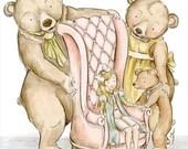 Goldilocks and the Three Bears Nursery Decor Nursery Print Childrens Art