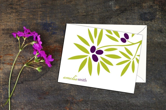 Olive Branch Personalized Folded Note Cards