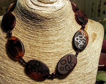 Hand Etched Stone Necklace