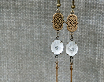 Long art nouveau earrings/ art deco earrings/boho jewelry. Tiedupmemories