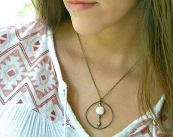 Circle pendant necklace / white turquoise necklace/geometric/boho jewelry. Tiedupmemories