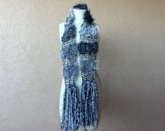 Black, Grey, White Scarf Silver See Through Lightweight Scarf Salt and Pepper Scarf Hand Knit Fashion for Grey Hair or Grey Eyes