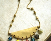 Cadiz Necklace, Bead Tassel Necklace, Long Necklace, Layering, Colorful Glass, Raw Golden Brass