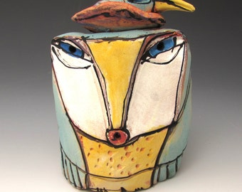 """Owl art, ceramic owl sculpture, whimsical, colorful owl figurine, 4-1/2"""" tall,""""Owl Person and the Nesting Bird Living the Dream of Love."""""""