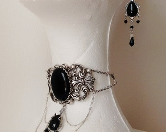 Gothic Jewelry Set Gothic Earrings Gothic Choker black choker dangle earrings black onyx Victorian jewelry set gift silver choker earrings