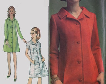 1960s Ladies' Designer Fashion Coat Dress Simplicity 7240 Vintage 60s Sewing Pattern Size 12 Bust 32
