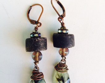 Elegant Grunge Gemstone Copper Earrings
