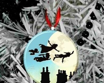 """Peter Pan Never Grow Up Image Christmas Tree 2.25"""" Ornament -E"""