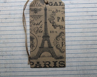 8 Large Shipping tags Paris France Collage distressed paper covered chipboard 2 9/16 x 5 inches