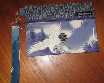 Wrist Strap Zippered Pouch Flying Cranes & Pines Design Japanese Asian Fabric Periwinkle