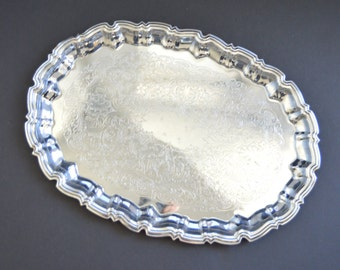 Vintage Oval Serving Tray  {Silver Tone Scalloped Edges Serving Platter Tray Ornate Engraved Hostess Gift Serving Tray in Chippendale}