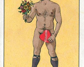 El Novio Gay Boyfriend Queer Mexican Latino Art Gay LGBT Queer Loteria Felix d'Eon - Print