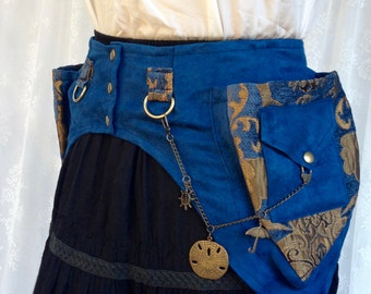 Desert festival utility belt - ready to ship high quality fabric pocket belt - blue anf gold fanny pack - festival pockets - Extra Small