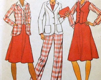 Vintage Sewing Pattern Simplicity 7377 Misses'  Jacket, Pants, and Skirt for Half Sizes  Bust 41 inches UNCUT Complete