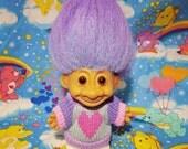 Lilac Heart Sweater Troll Doll