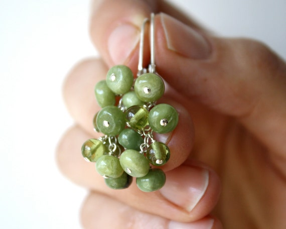 Grape Cluster Earrings Leverback . Green Garnet Dangle Earrings . Peridot Earrings . Silver Leverback Earrings - Muscadet Collection NEW