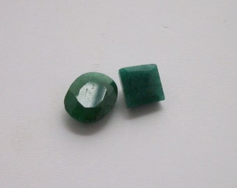 Natural Brazilian Emeralds 2pc, 9.9ct, oval and square faceted emeralds