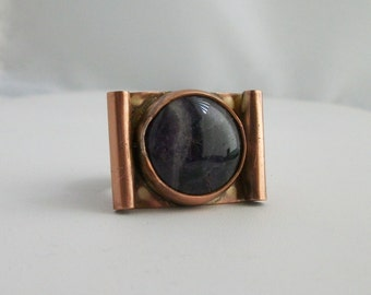 Hand forged copper ring with natural amethyst cabochon Size 8.5 US - copper jewelry - stone ring - amethyst ring - CLEARANCE SALE