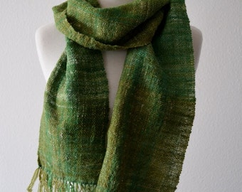 Handwoven Scarf in Greens - Rustic Handspun Handwoven Hand-Dyed Wool, Nylon, Hemp in Spring Green. New Green, Moss, Olive. Fringed.