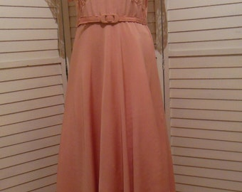 1940s Vintage Dress Gown Stunning 38 Bust Peach Lace & Crepe Original Belt Dress has 2 Water Marks Priced Accordingly