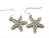 Beaded Starfish Earrings, Metallic Silver Colour